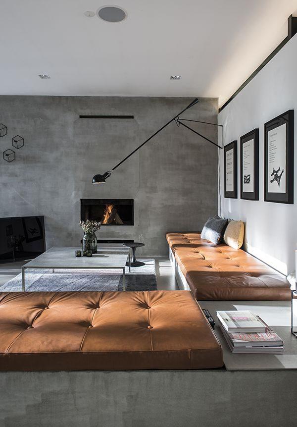 De kleur cognac combineren met betonlook - My Industrial Interior