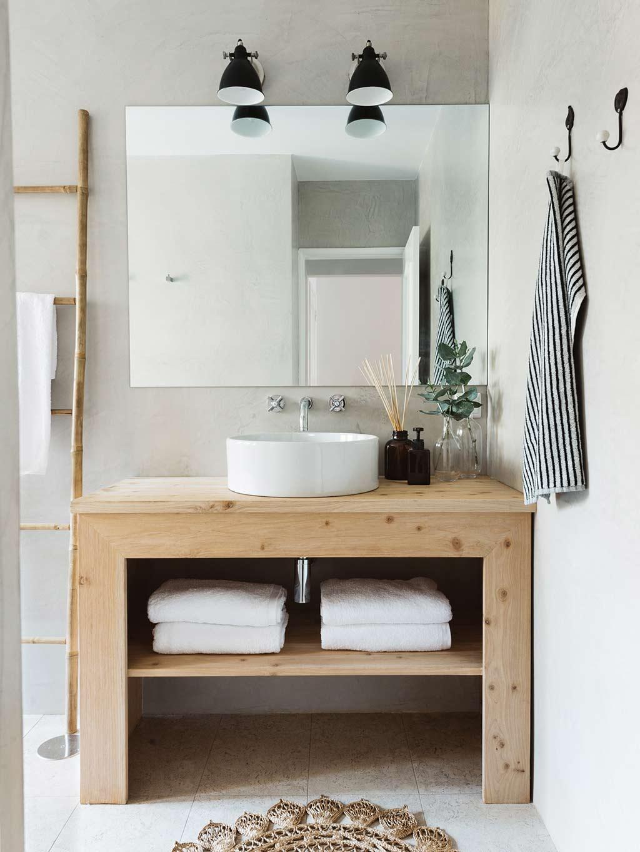 natuurlijke badkamer houten badkamermeubel