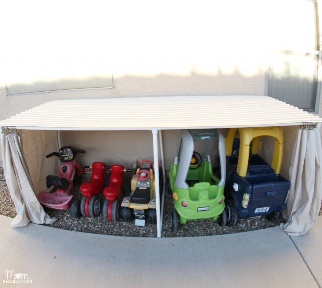 opbergruimte tuin overdekte garage speelgoed