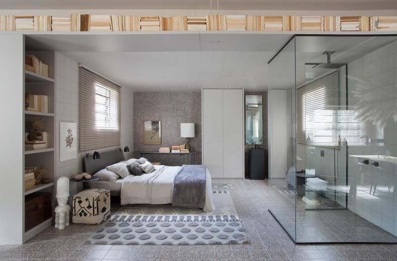 open slaapkamer badkamer glazen inloopdouche