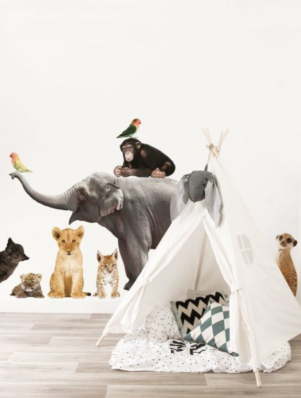 peuterkamer ideeën safarikamer muurstickers