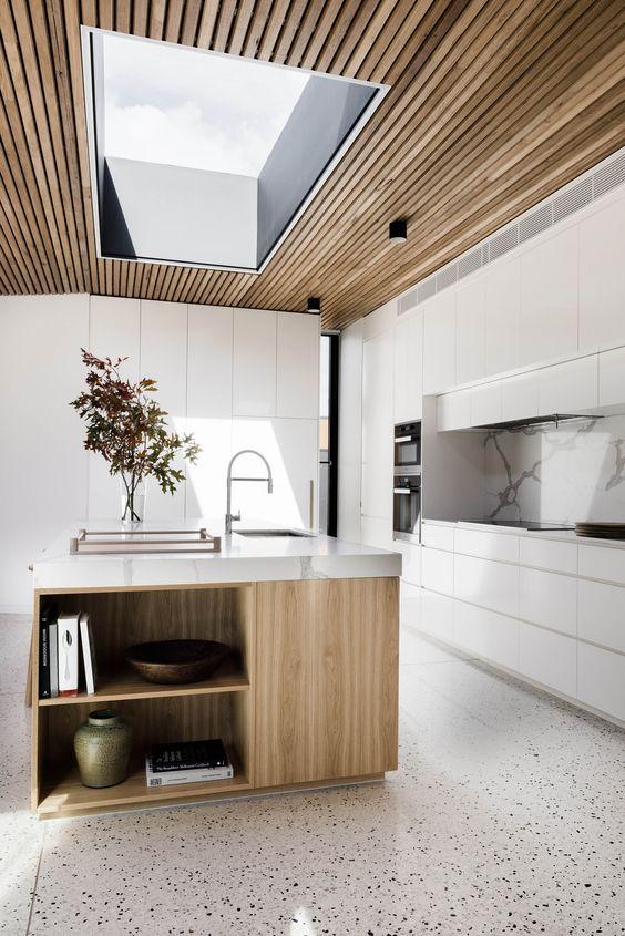 Plafond ideeën houten plafondbekleding keuken
