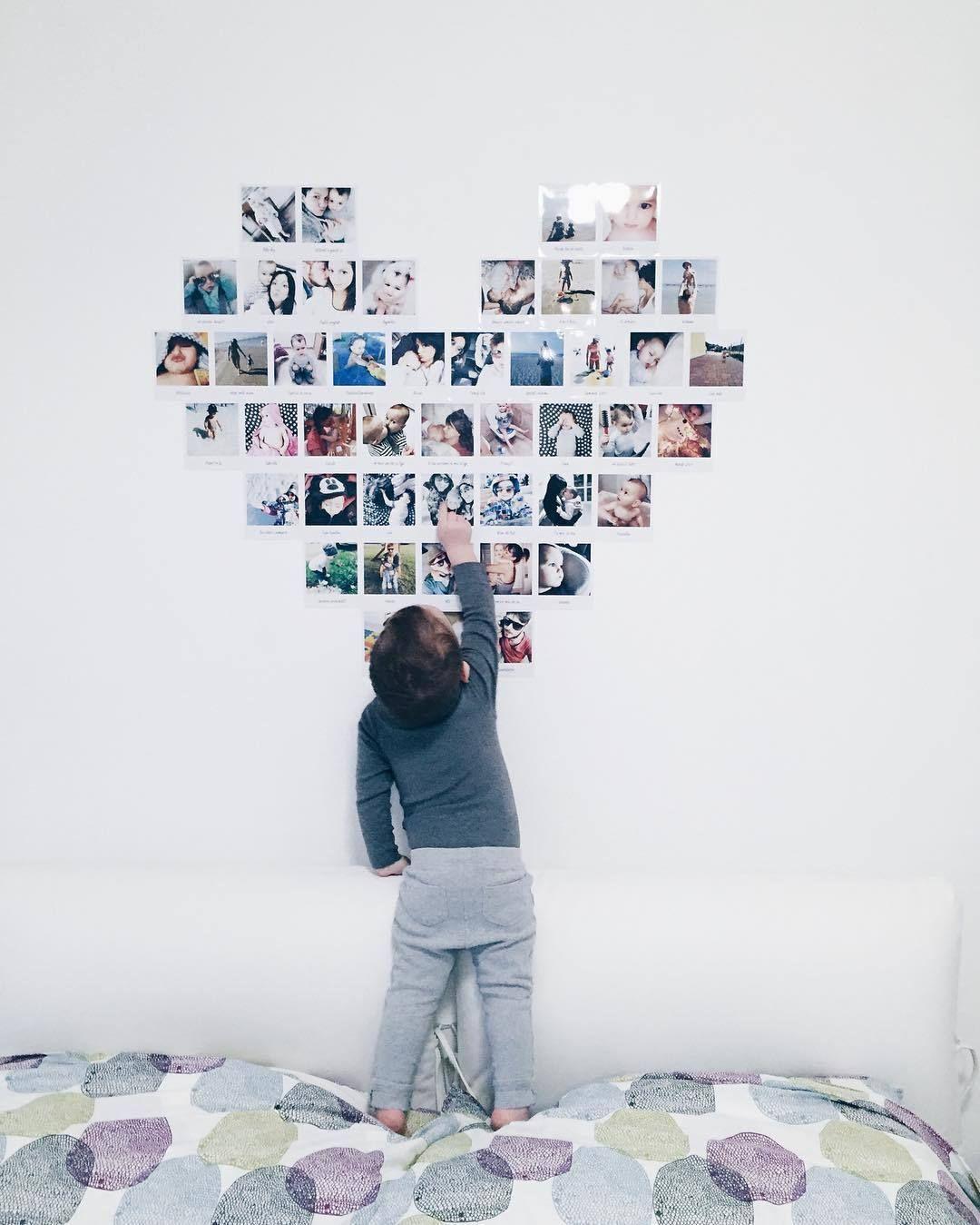polaroid hartjesvorm muur
