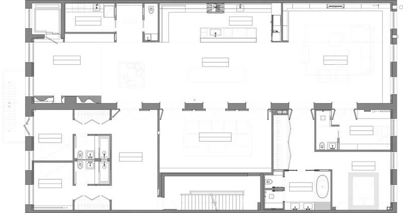 raad studio voegt twee appartementen bij elkaar tot een loft appartement plattegrond