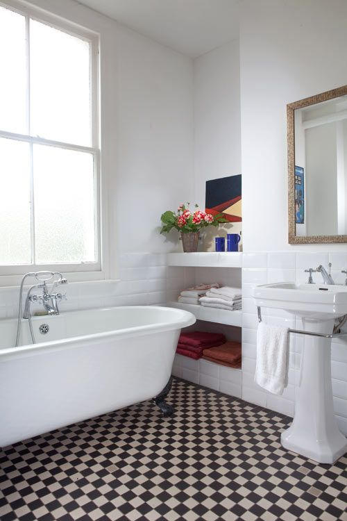 rechthoekige vintage spiegel badkamer