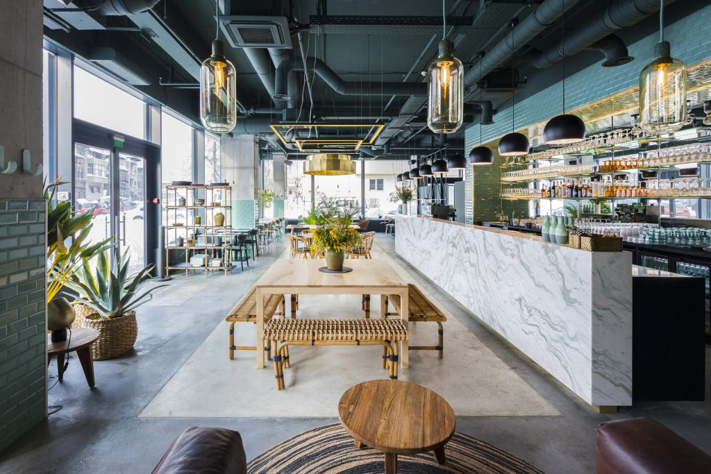 restaurant petrol hout marmer