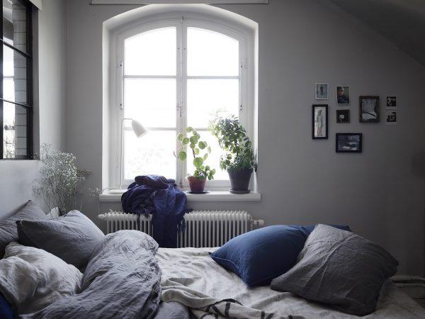 robuuste slaapkamer blauw linnen