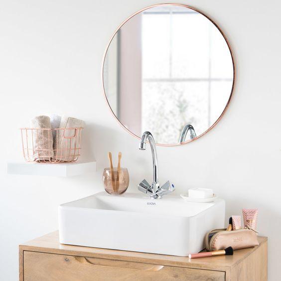 ronde badkamerspiegel koper