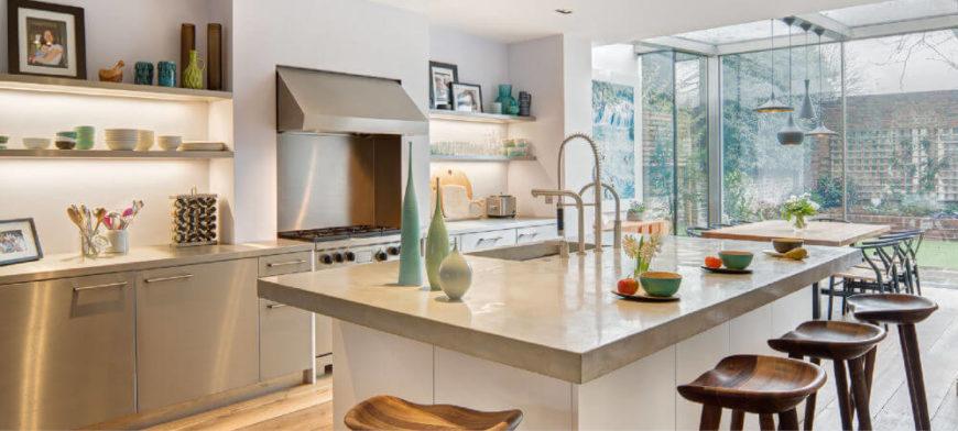 rvs keuken glazen uitbouw