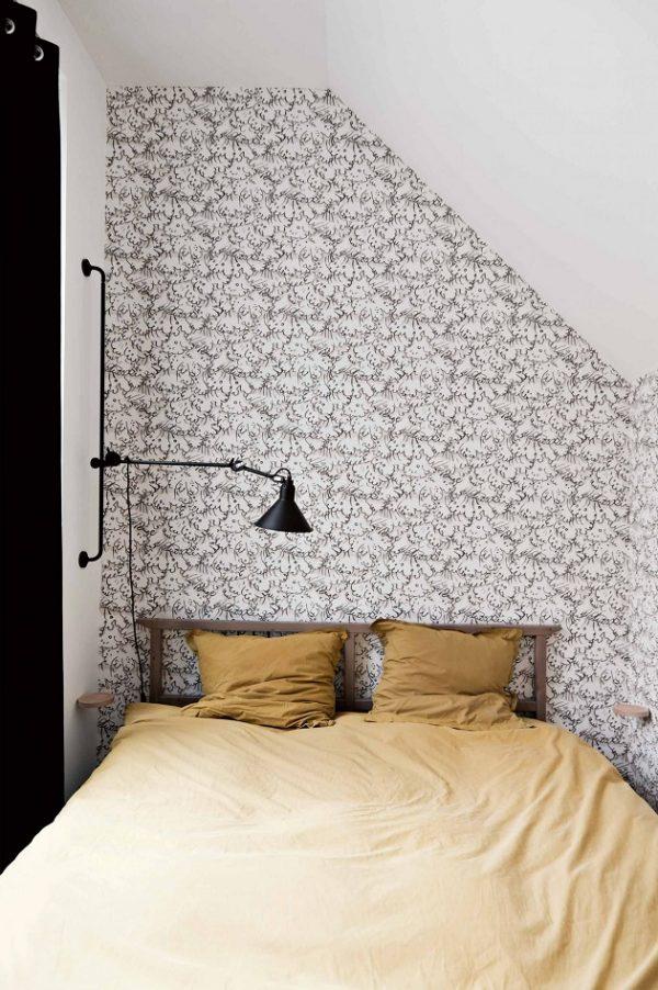slaapkamer zwart-wit geel