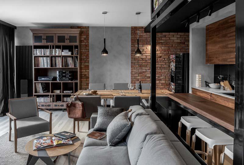 stoer appartement met een modern industrieel interieur