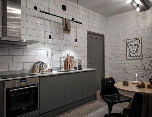 stoere keuken in industriële mini loft