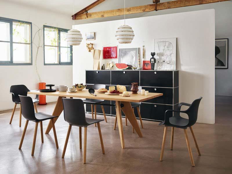 vitra hal amrchair wood stoel