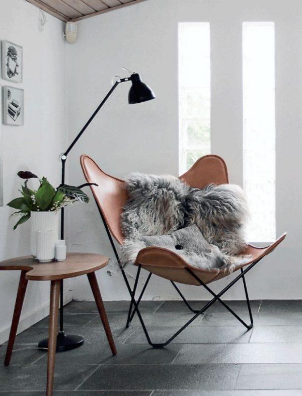Vlinderstoel leer thestylebox - Fauteuil de lecture comfortabele ...