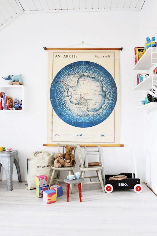 wereldkaart kinderkamer