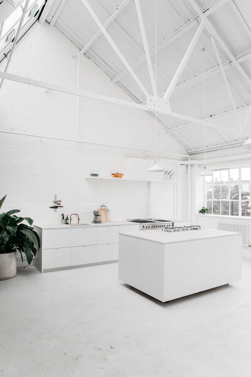 wit interieur witte bakstenen muur