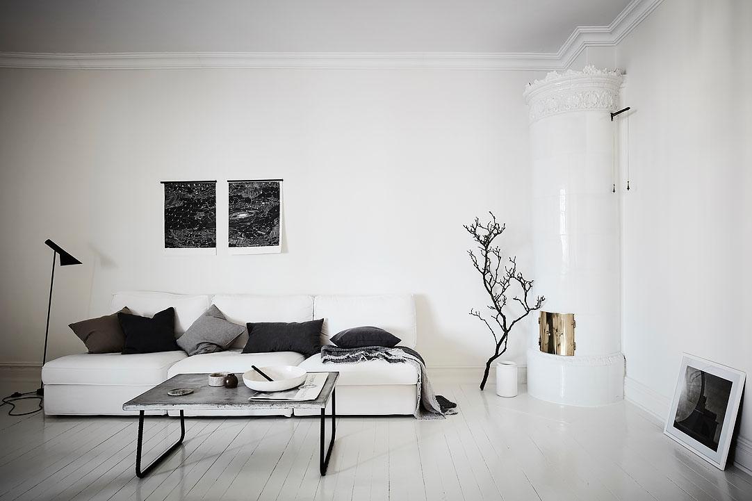 Zwart wit appartement thestylebox for Woonkamer wit