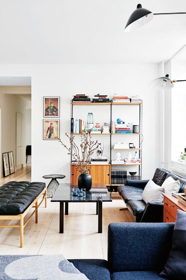 woonkamer blauw zwart