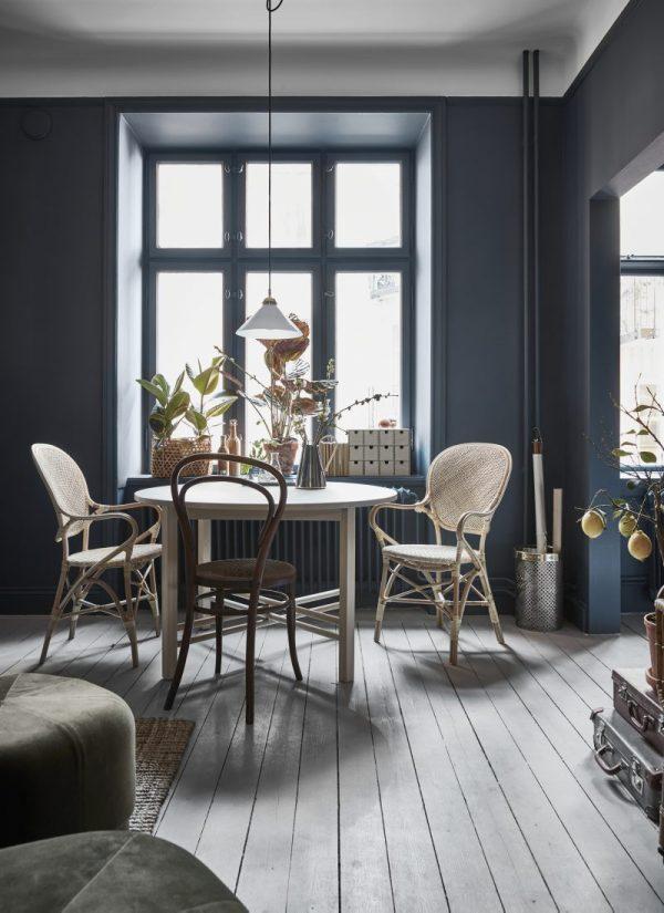 woonkamer blauwe muren