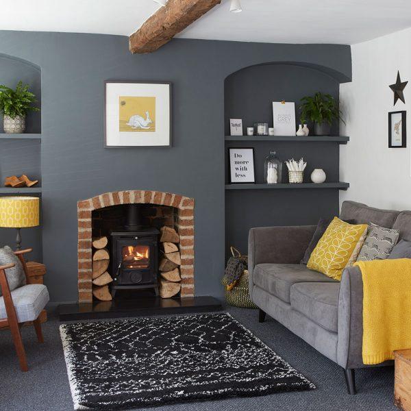 woonkamer ideeën grijs en geel