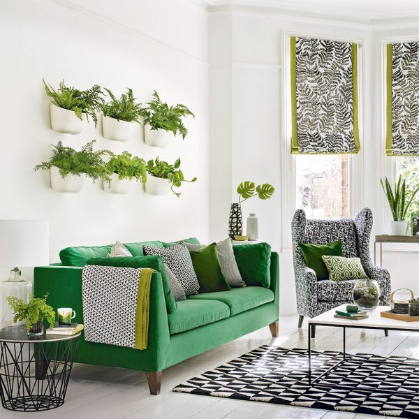 woonkamer ideeën groen aan de muur