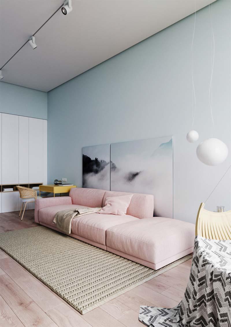 woontrends 2021 pastel kleuren roze bank