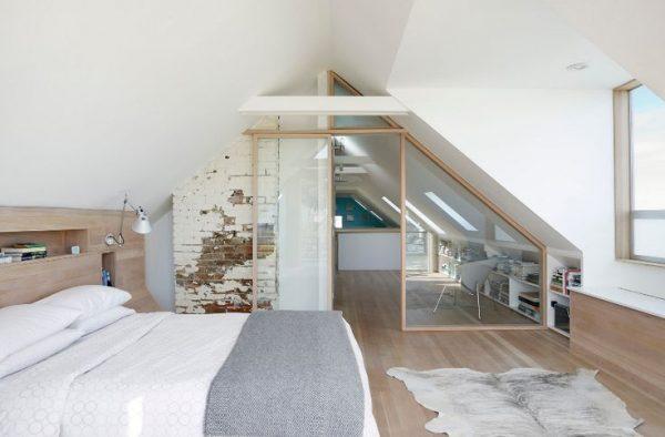 zolder slaapkamer hout wit