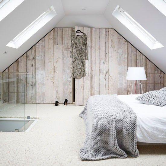 zolder slaapkamer houten muur
