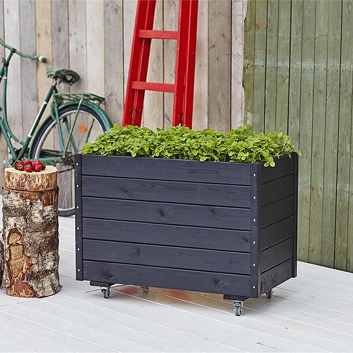 zwarte houten verrijdbare plantenbak