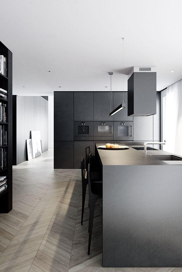 Zwarte keuken thestylebox - Zwarte houten keuken ...