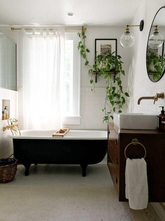 zwarte ronde vintage spiegel-badkamer