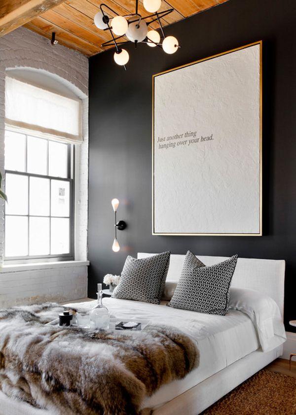 zwarte muur in de slaapkamer