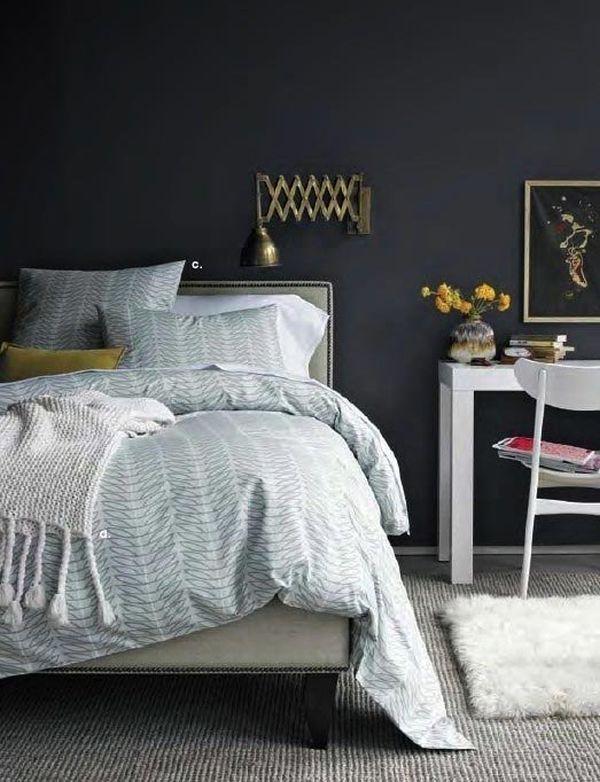 Zwarte muur in de slaapkamer - THESTYLEBOX